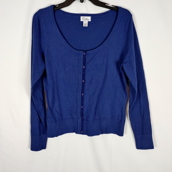 Lilly Pulitzer Navy Button Front Cardigan Women's